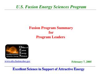 U.S. Fusion Energy Sciences Program