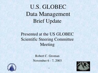 U.S. GLOBEC  Data Management