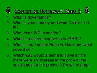 Economics Homework Week 5