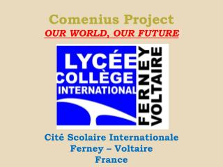Comenius Project  OUR WORLD, OUR FUTURE