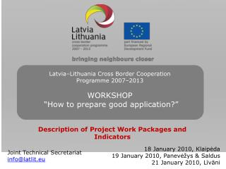 Description of Project Work Packages and Indicators