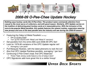 2008-09 O-Pee-Chee Update Hockey