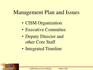 Management Plan and Issues