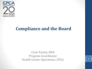 Compliance and the Board