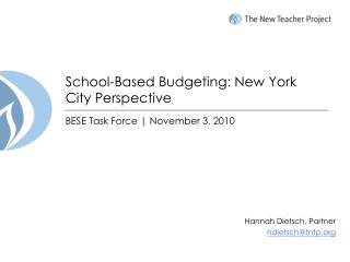 School-Based  Budgeting:  New York City Perspective