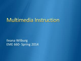 Multimedia Instruction