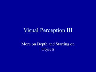 Visual Perception III