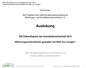 DW  Die Wohnungswirtschaft und Aareon AG Hamburg/Mainz, September 2014