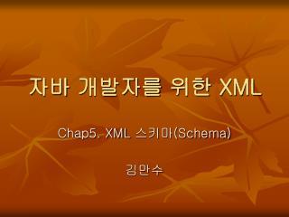 자바 개발자를 위한  XML