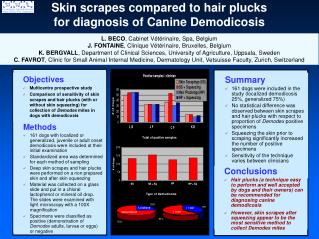 Skin scrapes compared to hair plucks  for diagnosis of Canine Demodicosis
