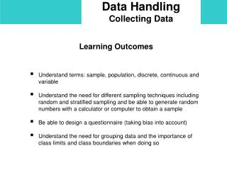 Data Handling Collecting Data