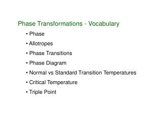 Phase Transformations - Vocabulary  Phase  Allotropes  Phase Transitions  Phase Diagram