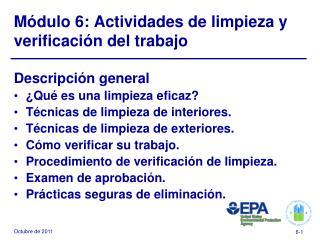 M�dulo 6: Actividades de limpieza y verificaci�n del trabajo