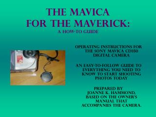The Mavica  for the Maverick: A How-to Guide