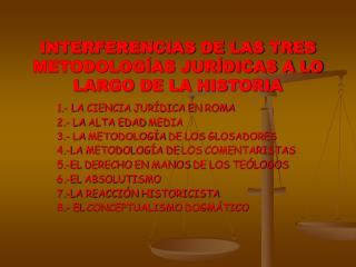 INTERFERENCIAS DE LAS TRES METODOLOG AS JUR DICAS A LO LARGO DE LA HISTORIA
