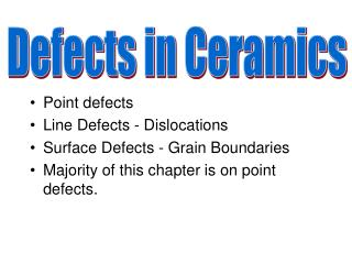 Point defects Line Defects - Dislocations Surface Defects - Grain Boundaries Majority of this chapter is on point defect
