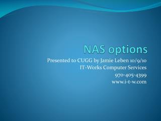 NAS options