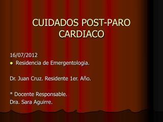 CUIDADOS POST-PARO CARDIACO
