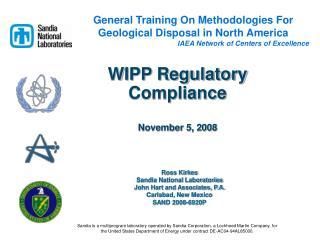 WIPP Regulatory Compliance November 5, 2008