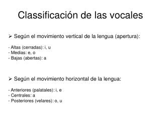 Classifica ci�n de las vocales