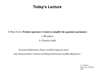 Lecture 4 Notes powerpoint: Product Operators: I