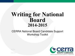 Writing for National Board 2014-2015