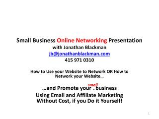 How to Use your Website to Network OR How to Network your Website� small