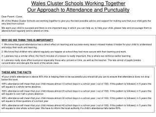 Wales Cluster Schools Working Together Our Approach to Attendance and Punctuality