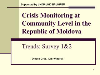 Crisis Monitoring at Community Level in the Republic of Moldova Trends: Survey 1&2