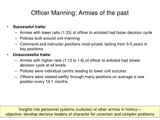 Officer Manning: Armies of the past