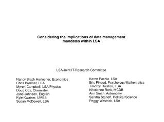 Considering the implications of data management mandates within LSA