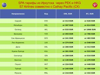 SPA- тарифы из Иркутска  через  PEK  и  HKG S7 Airlines  совместно с  Cathay Pacific (CX)
