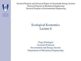 Ecological Economics Lecture 6