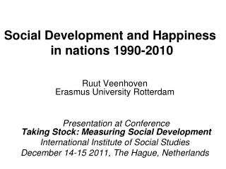Social Development and Happiness  in nations 1990-2010