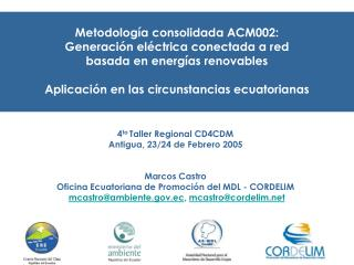 Metodología consolidada ACM002: Generación eléctrica conectada a red basada en energías renovables
