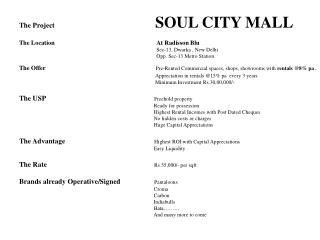 The Project		 SOUL CITY MALL The Location		                                     At Radisson Blu