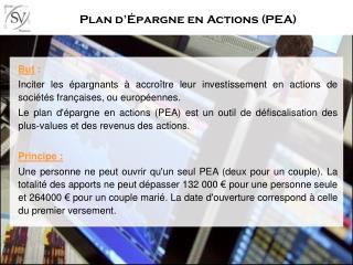 Plan d��pargne en Actions (PEA)