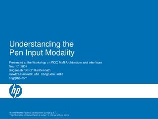 Understanding the Pen Input Modality