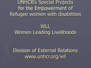 UNHCR s Special Projects  for the Empowerment of  Refugee women with disabilities  WLL  Women Leading Livelihoods   Divi