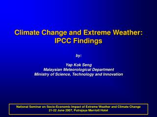 National Seminar on Socio-Economic Impact of Extreme Weather and Climate Change