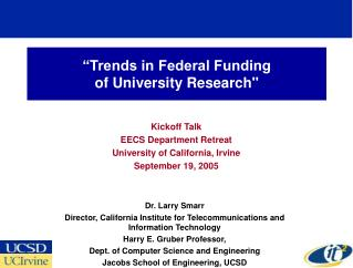 """Trends in Federal Funding  of University Research"""