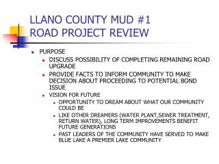 LLANO COUNTY MUD #1 ROAD PROJECT REVIEW