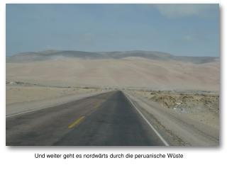 Und weiter geht es nordwärts durch die peruanische Wüste