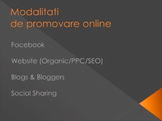 Modalitati de  promovare  online