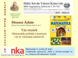 Strausz Ádám (Kőrösi Csoma Sándor Általános Iskola. 8. ost.): Vár-matek