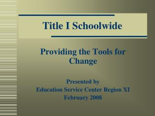 Title I Schoolwide