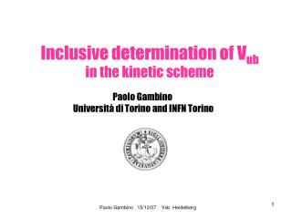 Inclusive determination of V ub in the kinetic scheme