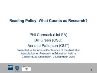 Reading Policy: What Counts as Research?