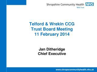 Telford & Wrekin CCG Trust Board Meeting 11 February 2014 Jan Ditheridge Chief Executive