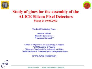 Study of glues for the assembly of the ALICE Silicon Pixel Detectors Status at 10 .0 3 .2003